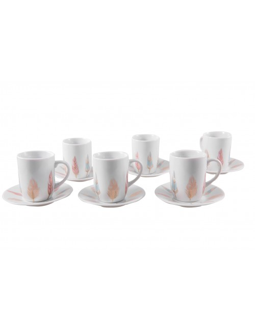 6 TASSES CAFE PLUMES