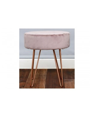 TABOURET VELOUR ROSE