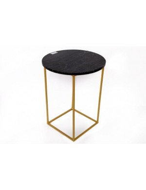 TABLE MARBRE NOIR RONDE PIED DOREE