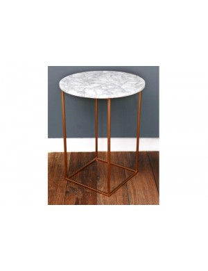 TABLE MARBRE BLANCHE RONDE PIED CUIVRE