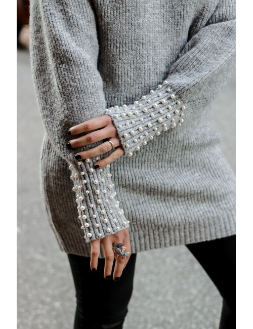 PULL MAILL PERLES COL + BAS MANCHE